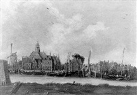 a view of the nieuwevaart, amsterdam with the oosterkerk and the entrance to the wittenburger gracht by jan meerhout