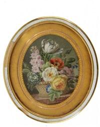 bouquet de fleurs printanières (rare tulipe à veines bleues, delphinium, primevères, pavot, roses, liserons) dans une corbeille sur un entablement de marbre by jan frans van dael