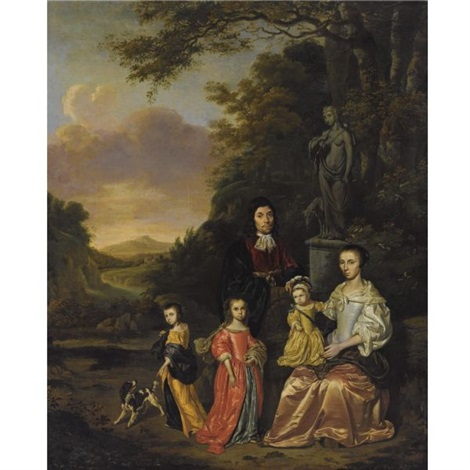 a portrait of a gentleman and his wife and their three children possibly the loth family near a statue of diana the huntress in a classical landscape by jan le ducq