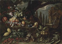 roses, carnations, lilies, figs, peaches, plums, lemons, artichokes, cherries, other fruits and two dead hares in a wooded clearing, by a fountain by michelangelo di campidoglio