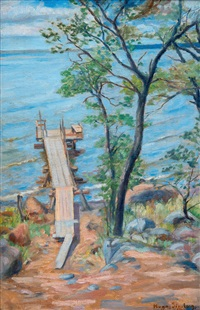 pier in summer landscape by hugo simberg