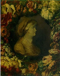 profile of a woman surrounded by a garland of flowers by benito espinos