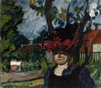 dame mit hut in einer landschaft by florian bosch