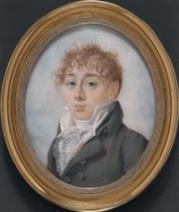 portrait d'un jeune homme en habit gris clair, chemise plissée de voile et cravate blanches, en buste de trois-quarts vers la gauche by françois hippolyte desbuisson dit hipolite