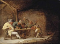 figures drinking and smoking in a barn by bartholomeus molenaer