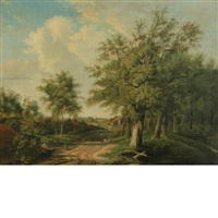 landscape with figures along a road by adrianus van everdingen