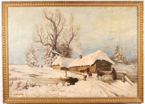 a winter twilight by vyacheslav pavlovich bychkov