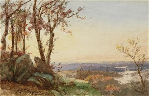 panoramic landscape sunset by jasper francis cropsey