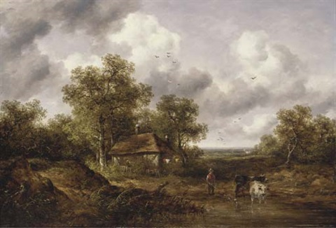 cattle and a herder in a landscape with a cottage beyond by richard h hilder