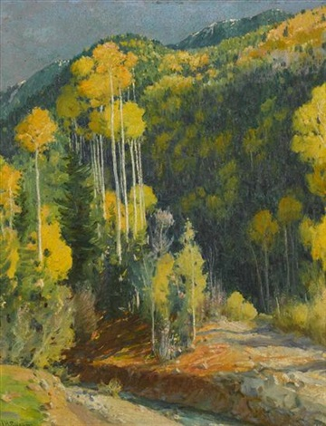 mountain aspens hondo cañon by joseph henry sharp