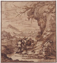 a mountainous landscape wth peasants on a track in the foreground by zacharias blyhooft