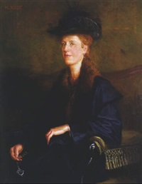 halbfigürliches portrait einer blonden dame by karl jobst