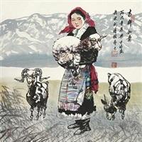 吉祥如意 (lady holding sheep) by liang pingbo