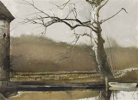 flat boat (2 works) by andrew wyeth