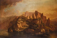 a rocky coast with a monastery in the foreground by hellen melville