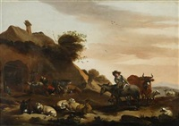 herder with flock by jacob van der does the elder