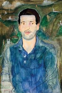 retrato geraldo andrada com paisagem imaginária ao fundo by alberto da veiga guignard