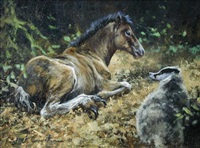 exmoor pony and badger by mick cawston