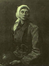 portrait of tanya, subway bridge builder by nikolai n. volodimirov