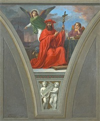 a fresco study of saint peter damian by vincenzo morani