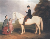 a group portrait of three children, brother on a grey pony before his two sisters, in a wooded landscape by william smith