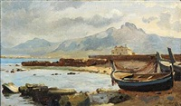 coastal scape from southern europe by august fischer