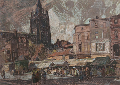 sun and storm norwich market place by leonard russel squirrell