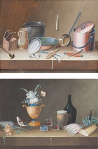 nature morte aux radis - nature morte aux cuivres (2 works) by lelong