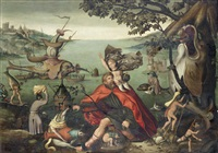 saint christopher carrying the christ child through a sinful world by pieter huys