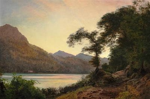 summer day near a lake by janus andreas barthotin la cour