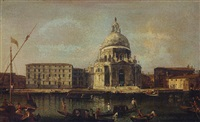 the basilica of santa maria della salute, venice, looking south across the grand canal by francesco albotti