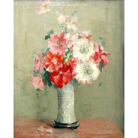 still life with a vase of carnations by anna s fisher
