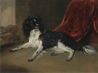 a king charles spaniel by a fireplace by ramsay richard reinagle