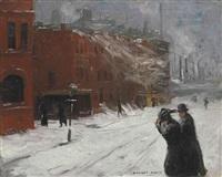 city snow scene by stuart davis