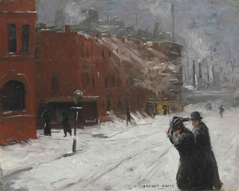 city snow scene by stuart davis