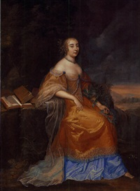portrait of anne de la vigne as calliope in an orange and blue embroidered dress, seated, with laurel crowns around her arm by louis ferdinand elle the elder