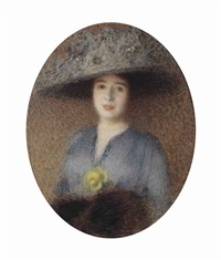 elegant lady with hat and yellow rose by ernest joseph laurent