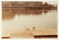 dogs on dock, tennessee river, knoxville; greek revival (2 works) by william eggleston