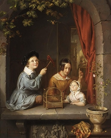 playing with the pet bird by elisabeth alida van haanen