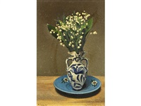 still life of lilies of the valley in a blue and white vase (+ original receipts and catalogues) by pierre jaques