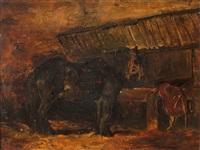 caballo en el establo by eugène delacroix