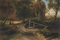 kinder auf der holzbrücke by théodore fourmois