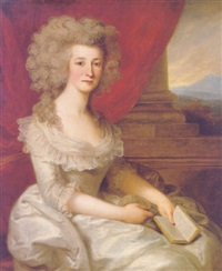 portrait of a lady wearing a white dress and holding a book by john francis rigaud