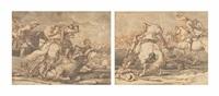 cavalry skirmishes (pair) by georg philipp rugendas the elder