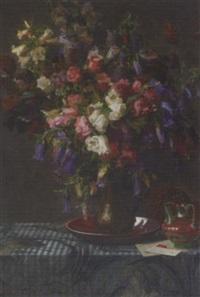 bellflowers in a jug by ernst albert fischer