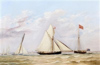the cutter vision winning the annual royal mersey yacht club's grand challenge cup in 1847 by henry melling