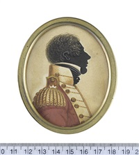 an officer of the 103rd regiment of foot, profile to the right, wearing red coat with buff facings, epaulette and lace, buttons stamped '103', white... by john buncombe
