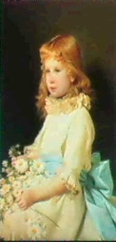 portrait of marquerite de neu-fville, seated half length,  wearing a cream dress with a blue sash by francesco valaperta