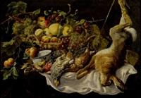 trophée de chasse au lièvre, perdrix et panier de fruits by jan fyt