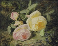 roses on a mossy bank with a butterfly by simon saint-jean